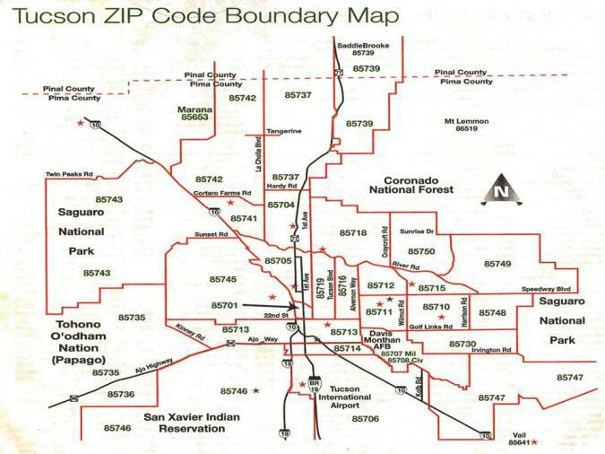 Zip Code Map Tucson